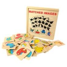 Giocattolo di legno Montessori Educazione della Prima Infanzia Ombra Corrispondenza Immagine del Giocattolo di Frutta di Accoppiamento Di Puzzle Giocattolo Educativo Per I Bambini I Bambini