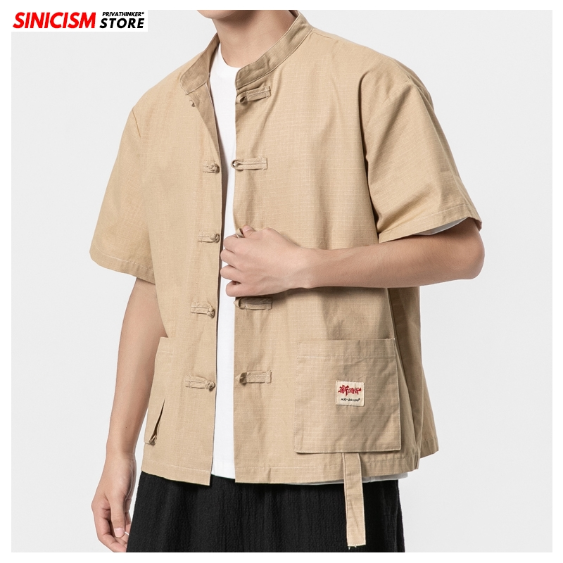 Sinicism Store Vintage Chinese Style Cargo Shirts Mens Fashion 2020 Summer Casual Mens Shirts Male Oversized Buckle Clothing 5XL