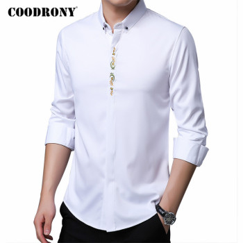 COODRONY Brand High Quality Cotton Shirt Men Clothing Spring Autumn New Arrivals Long Sleeve Shirts Business Casual Dress C6076