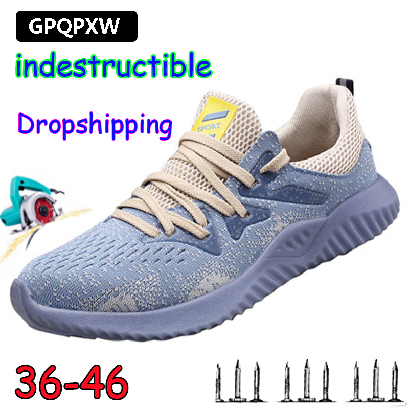 19Dropshipping Indestructible Ryder Shoes Men And Women Air Safety Steel Toe Boots Puncture-Proof Sneakers Breathable Work Shoes