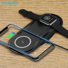 FDGAO Wireless Charger 2 in 1 Charging Pad 10W Qi Fast Charging Dock for Apple Watch 5 4 3 2 Airpods iPhone 11 Pro Max XS XR X 8