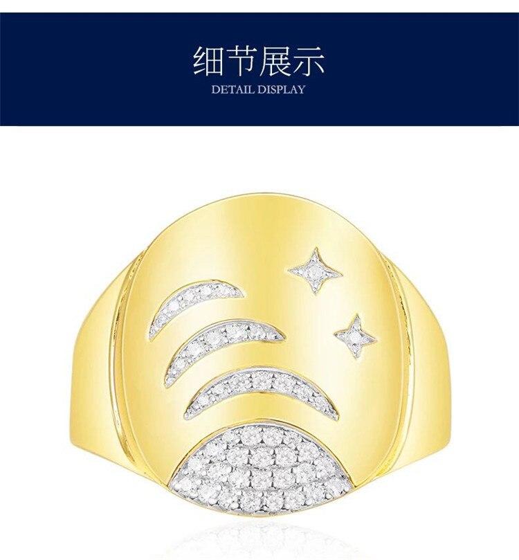 Marque design zircon étoile anneau pour femmes 925 bijoux en argent étoiles or espace galaxie voie lactée fête anneau Monaco Fevrier 2018