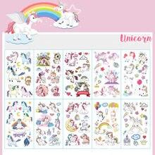 10 adet/grup renk Unicorn dövme seti yüz geçici dövme çocuk dövme etiket vücut dövme çocuklar için sevimli dövme çocuk dövmeler