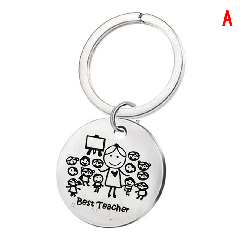 1PCS Best Teachers Keychain Apple Love Heart Charm Keyring Thank You Teacher Key Chain Ring Holder Jewelry Teacher's Day Gift