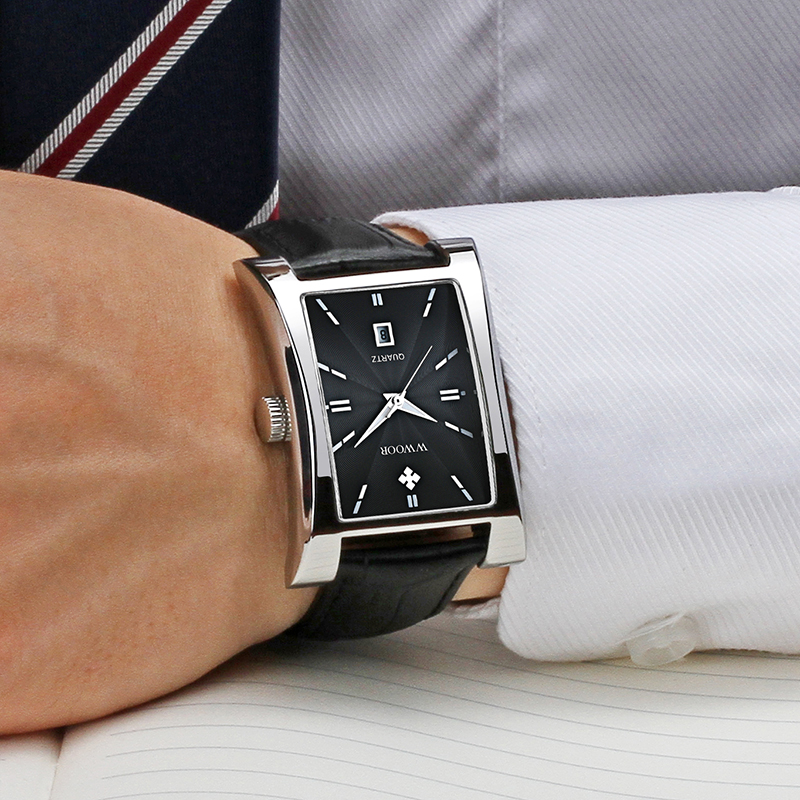 Relojes Hombre 2020 WWOOR Watches For Men Luxury Brand Fashion Mens Square Leather Watch Casual Automatic Date Quartz Wristwatch