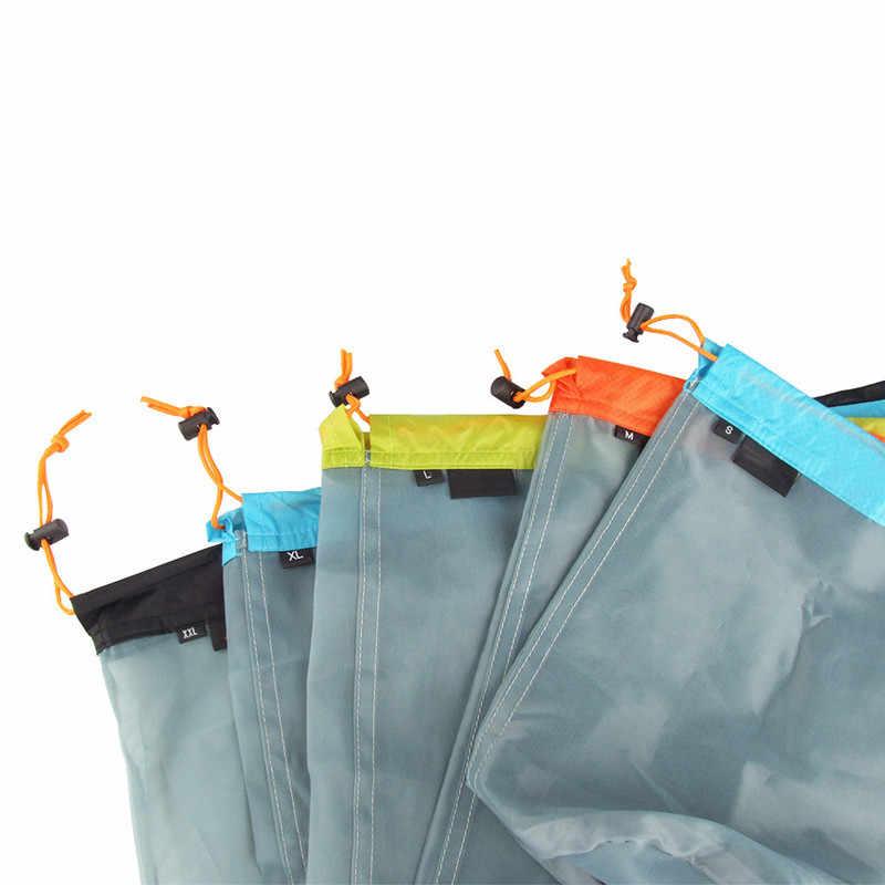 1pc blanchisserie sac extérieur ultra-léger maille trucs sac Camping Sports cordon sac de rangement randonnée outils escalade cordon sac
