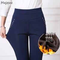 Брюки женские зимние плюс бархатные толстые большие размеры 5XL теплые высококачественные женские s брюки повседневные Простые Карандаш Дли...