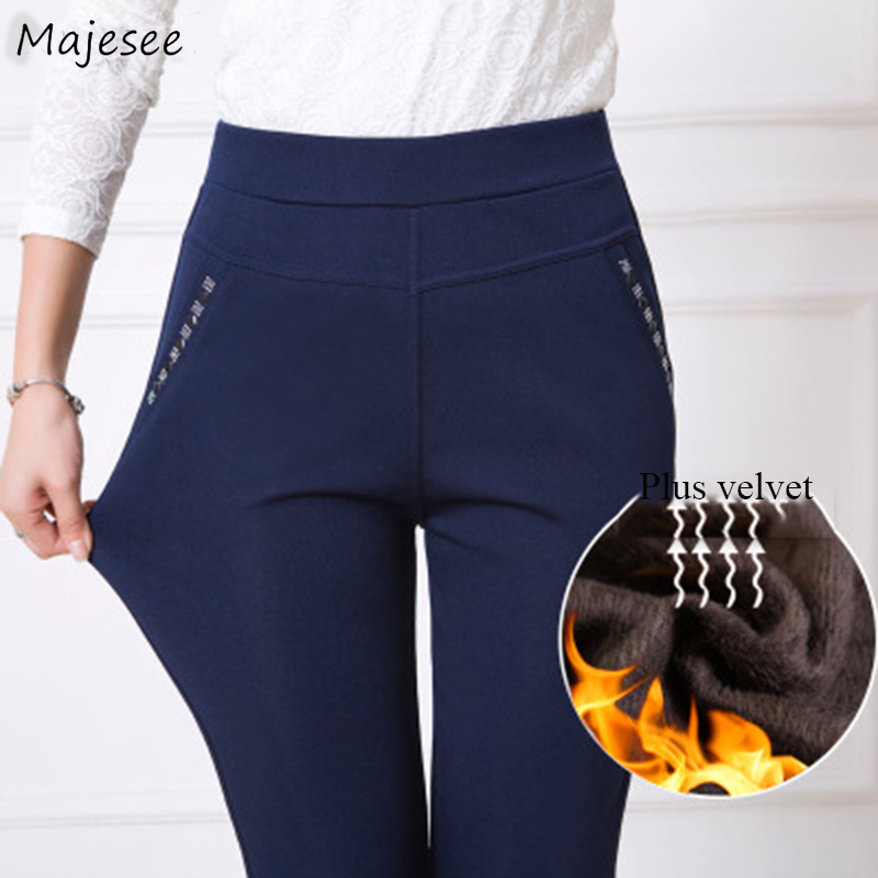 Pants Women Winter Plus Velvet Thicker Large Size 5XL Warm High Quality Womens Trousers Casual Simple Pencil Long Elastic Waist