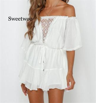 White Lace Summer Urban Women Off Shoulder Playsuit Shorts Ladies Elegant Backless Ruffle Romper Sexy Shorts Overalls Jumpsuits white off shoulder high waisted lantern sleeves playsuit
