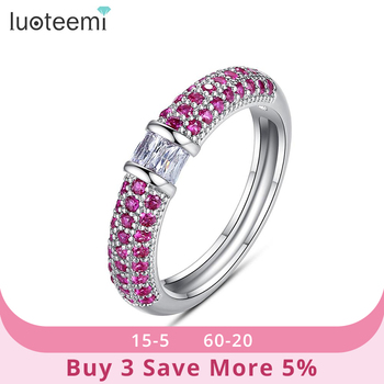 LUOTEEMI Elegant Bohemia Style Rings Five-Color Cubic Zircon Fashion Statement Jewelry for Dating Party Christmas Gifts Anillos 1