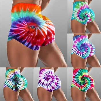 Womens Elastic High Waist Sports Fitness Shorts Gradient Printed Casual Lounge Wear Slim Streetwear Jogger Pantacourt Trousers