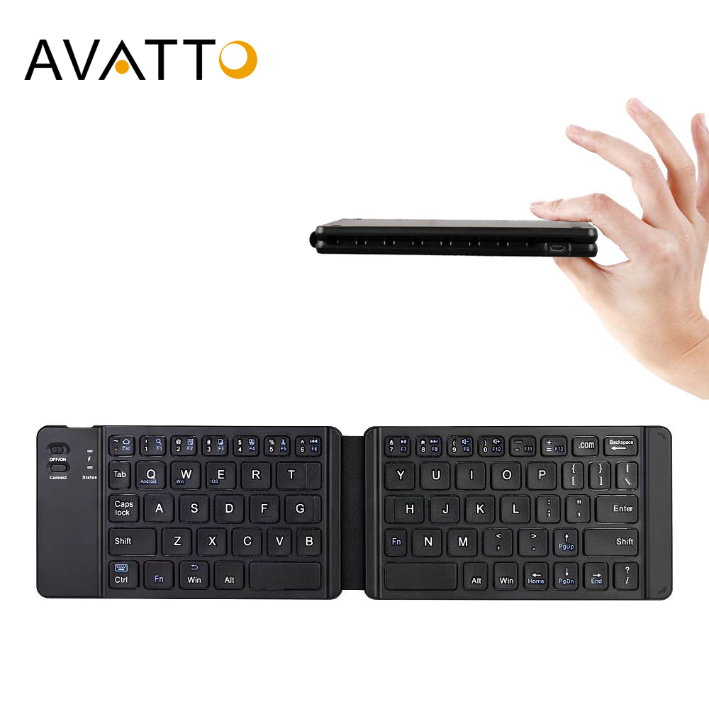 AVATTO Light-Handy Russian/English Bluetooth Folding Keyboard,Foldable Wireless Keypad For IOS/Android/Windows ipad Tablet phone image