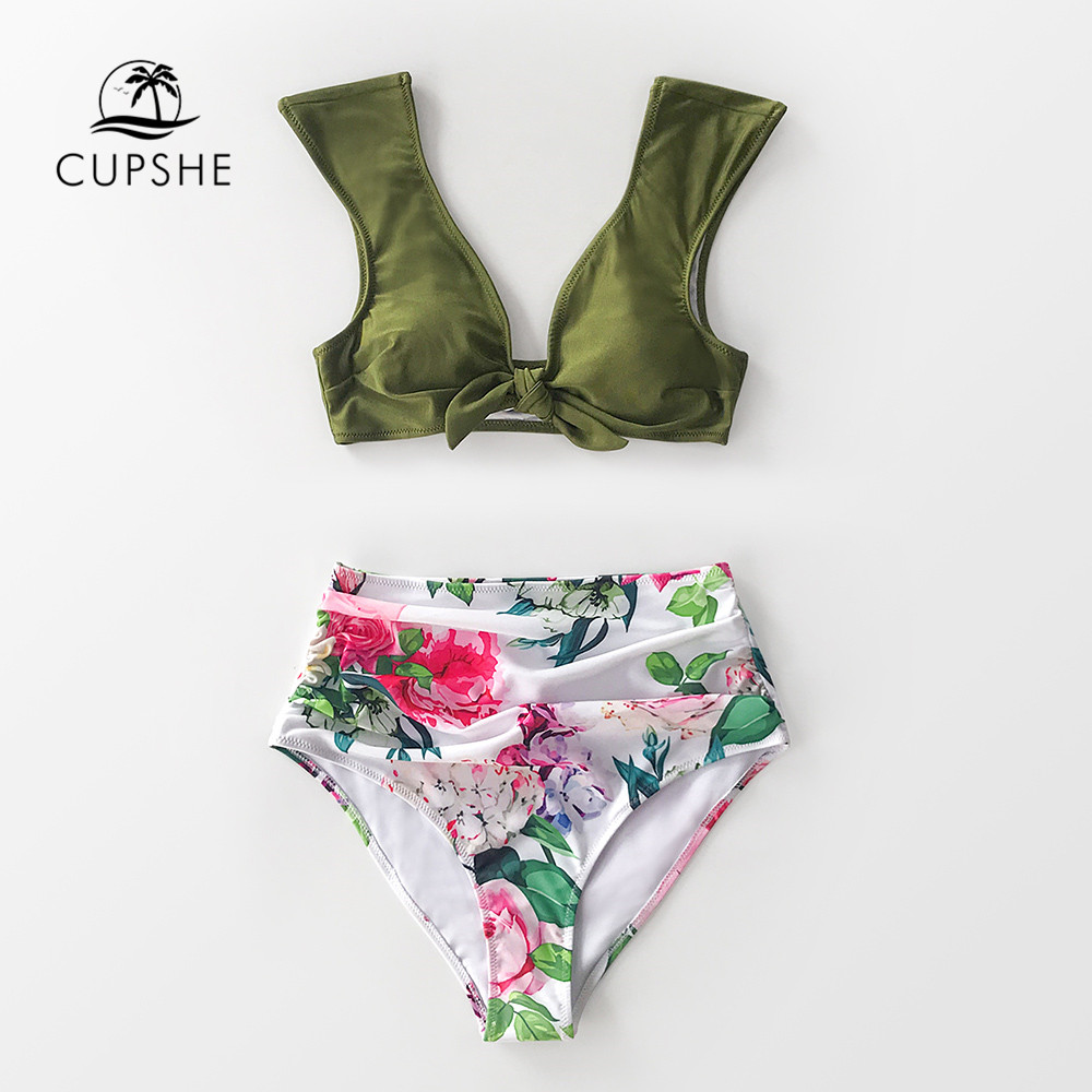 CUPSHE Green And White Floral High-Waisted Bikini Sets Sexy Bow-knot Swimsuit Two Pieces Swimwear Women 2020 Beach Bathing Suit