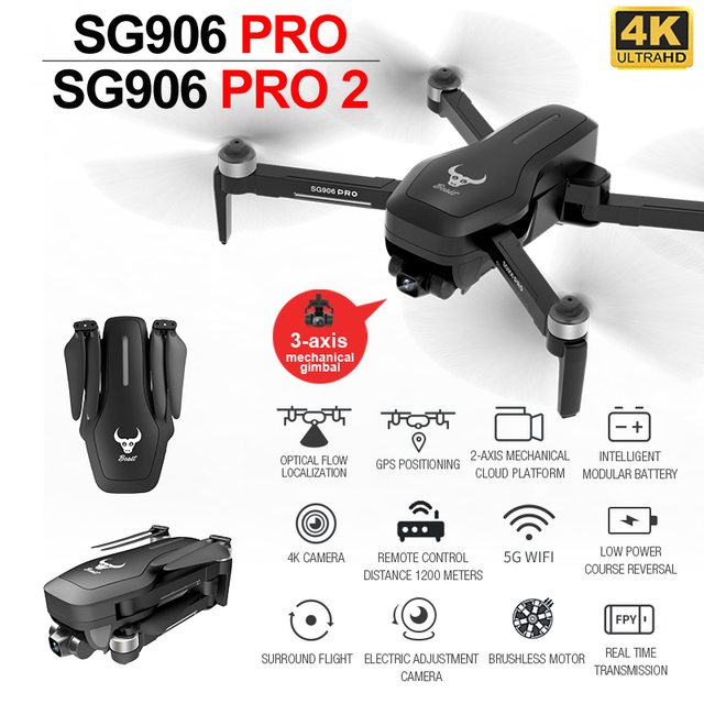 ZLL SG906 PRO 2 PRO2 GPS Drone 4K HDกล้อง3แกนแกนAnti Shake Gimbal WiFi FPV Dron Brushless Professional Quadcopter
