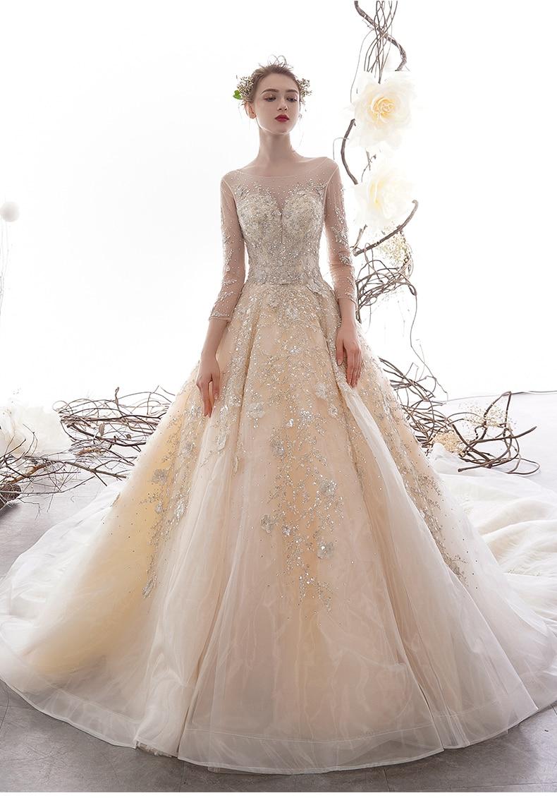 Image 3 - New Luxury Lace Wedding Dress Long With Sleeve Bridal Gown For Hotel Lawn wedding Elegant Bride Dress vestido de casamento 2020Wedding Dresses   -