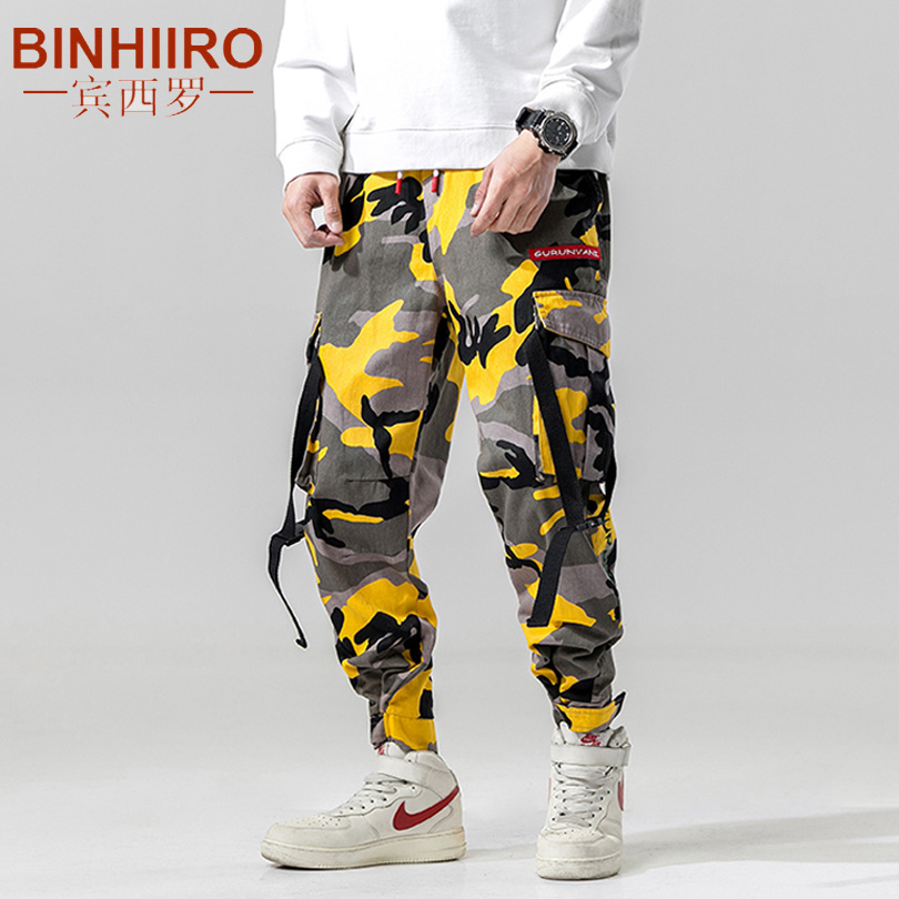 Streetwear Camouflage Cargo Pants Autumn Mens Fashion Baggy Tactical Trouser Hip Hop Casual Cotton Multi Pockets Cargo Pants