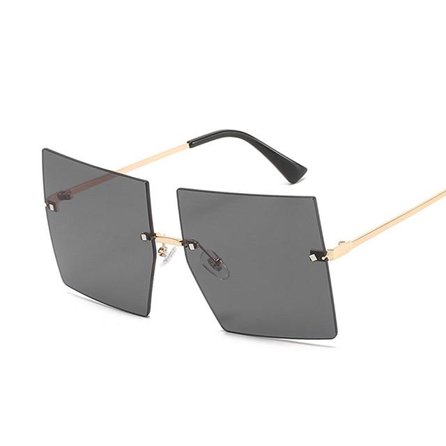 Gafas De Sol cuadradas Vintage para mujer, lentes De Sol De lujo sin montura, De marca De moda, De diseñador, transparentes 4