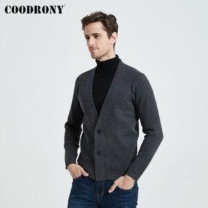Image 2 - Coodrony marca camisola masculina streetwear moda camisola casaco masculino com bolsos outono inverno quente cashmere lã cardigan 91105