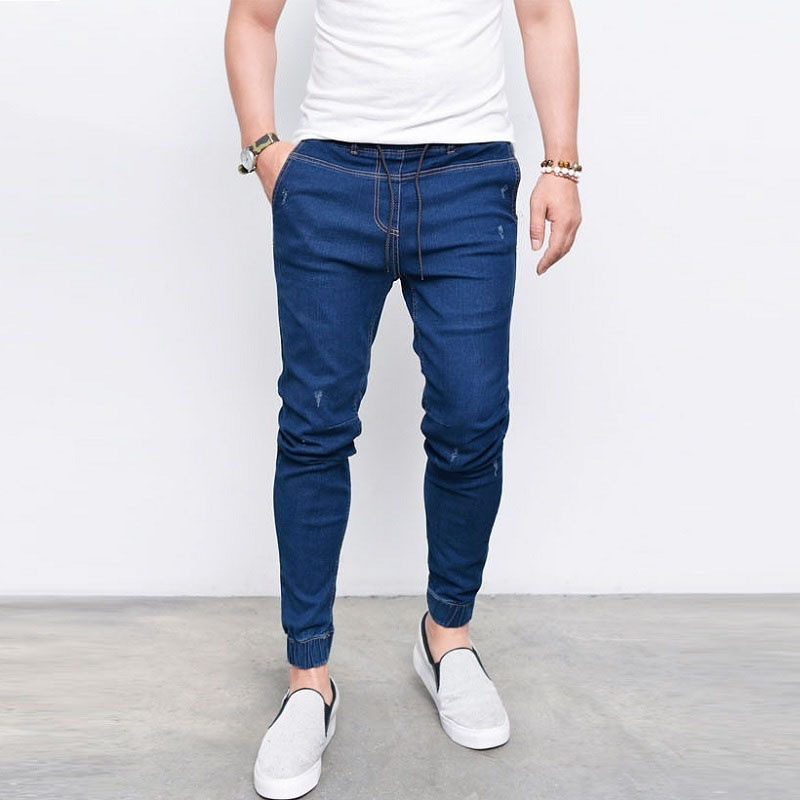 MEN'S Jeans Occident Fashion Rubber Band Pants Elasticity Tight-Fit Skinny Pants