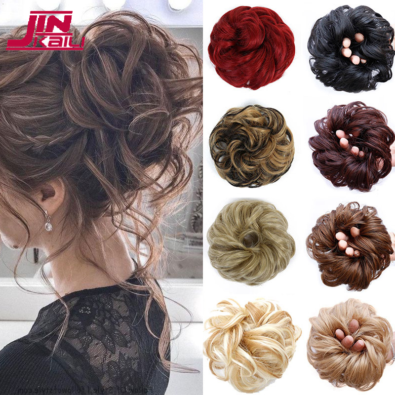JINKAILI Girls Curly Scrunchie Chignon With Rubber Band Brown Black Synthetic Hair Ring Wrap On Messy Bun Ponytails
