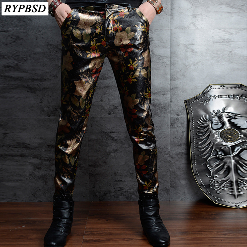 Floral Printed PU Skinny Leather Pants Men Korean Fashion Slim Nightclub Men Leather Pants Casual Mens Faux Leather Trousers