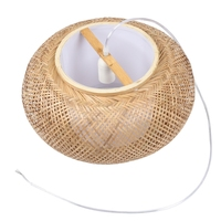 Bamboo Lampshade, Pendant Ceiling Shade, DIY Wicker Rattan Lamp Shades Weave Hanging Light(Does Not Contain Bulbs)