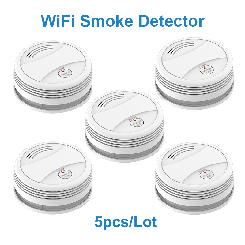 SM05W 5pcs/Lot Tuya WiFi Smoke Sensor Smoke Detector Smart Life APP Fire Alarm Wireless Sensor Detector Smoke Alarm Detector