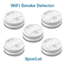 цена на SM05W 5pcs/Lot Tuya WiFi Smoke Sensor Smoke Detector Smart Life APP Fire Alarm Wireless Sensor Detector Smoke Alarm Detector