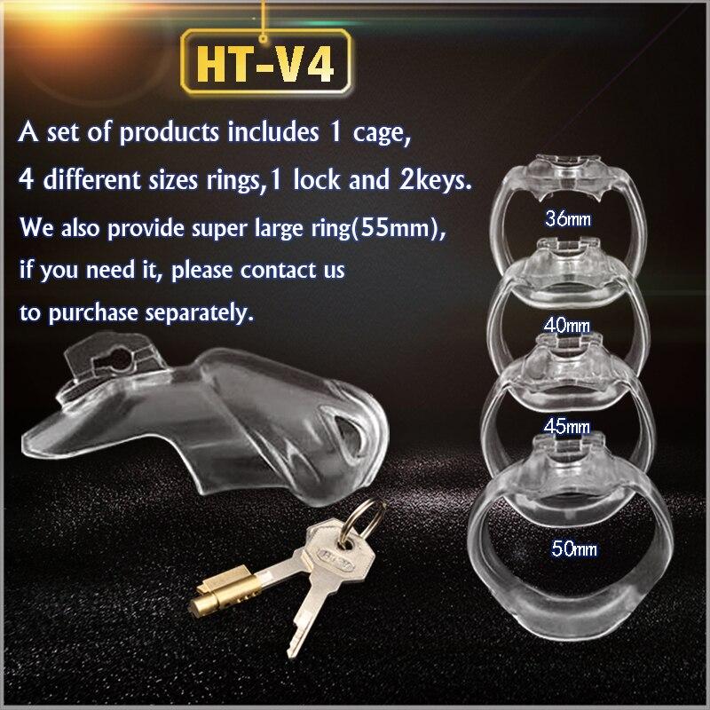 HT-V4 устройство целомудрия из смолы для мужчин, клетка для члена с 4 кольцами для пениса, кольцо для пениса, игра для взрослых, пояс целомудрия, A777