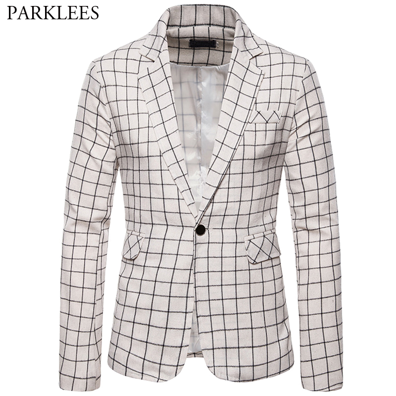 Big Plaid Suit Coat Men Blazer Casual Slim Fit Mens Suit Jacket Business Leisure Checked Men Dress Coat Suits Mens Blazer Jacket