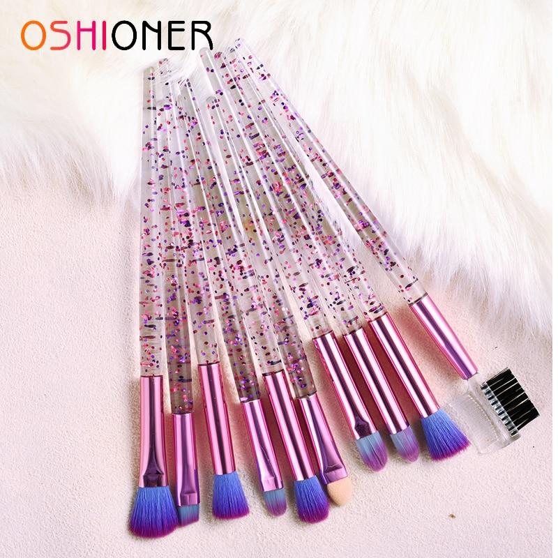 10pcs Quicksand Transparent Acrylic Handle Makeup Brushes Set Eye Lip Brush Powder Eyeshadow Brush Beauty Makeup Brush Set Tool(China)