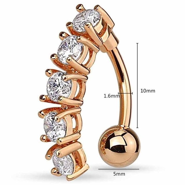 Women Cute Crystal Belly Button Dangle Flower Navel Piercing Rose Gold Sexy Bar Umbilical Ring 2