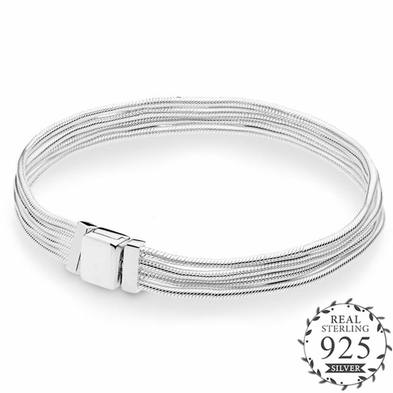 Argent 2019 nouveaux réflexions Multi serpent chaîne Bracelet s'adapte réflexions charme 925 en argent Sterling bricolage Multi lignes Bracelet