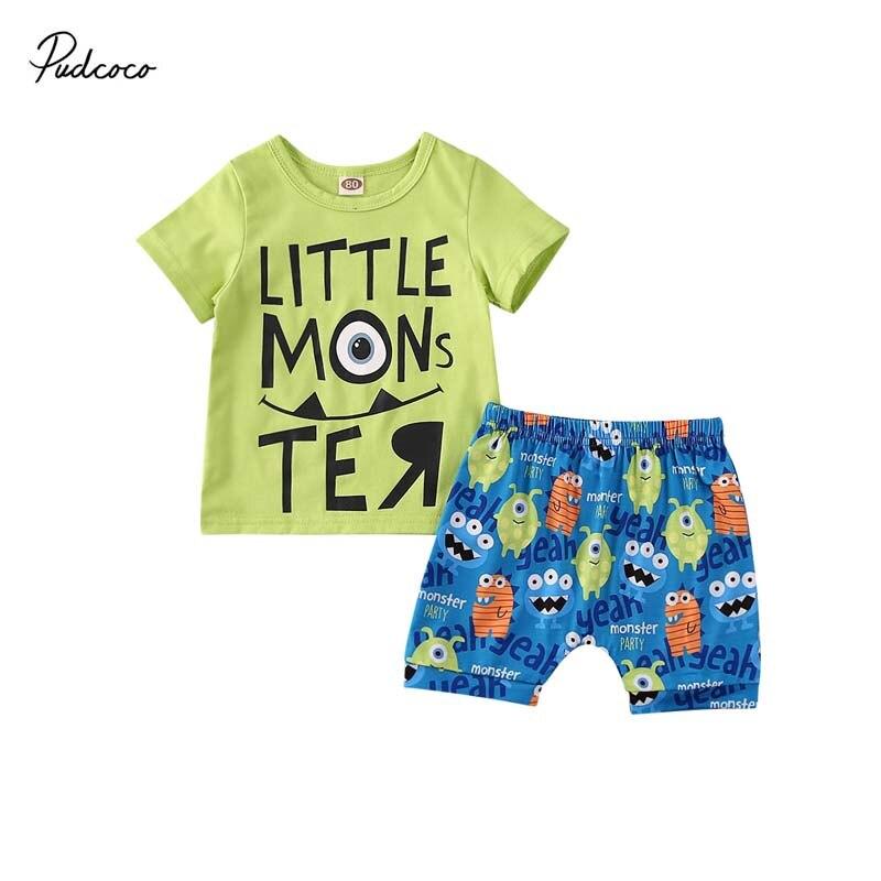 2PCS Toddler Kids Baby Boy Summer Clothes T-shirt Tops+Pants Shorts Outfits Set