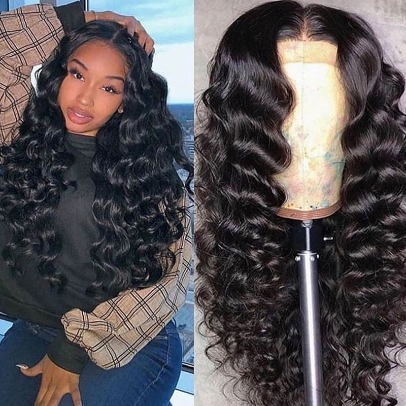 Loose Wave Wig 250 Density Lace Front Human Hair Wigs For Women Brazilian Remy 13x4 Glueless Lace Frontal Wig Long Black Dolago