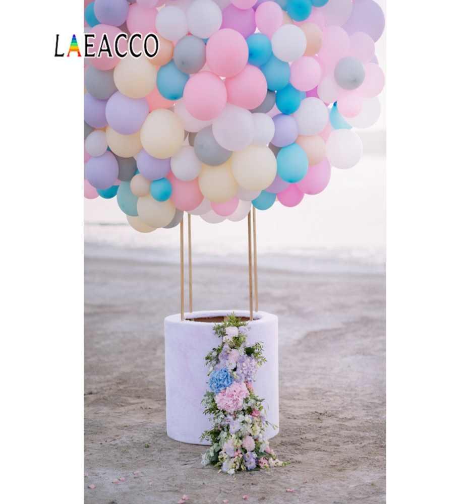 Laeacco 핑크 풍선 생일 파티 코튼 베이비 신생아 초상화 사진 배경 사진 배경 photocall 사진 스튜디오