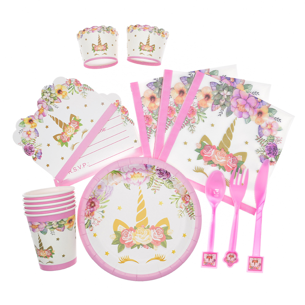 UNICORN GOLD SPARKLE BIRTHDAY PARTY Tableware Plates Napkins Cups Candles Cover