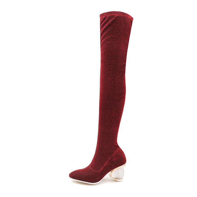 Taoffen 5 couleur Bling Over The genou bottes sans lacet Sexy bureau dames bottes extensibles quotidien chaussures à talons hauts femme taille 35-43