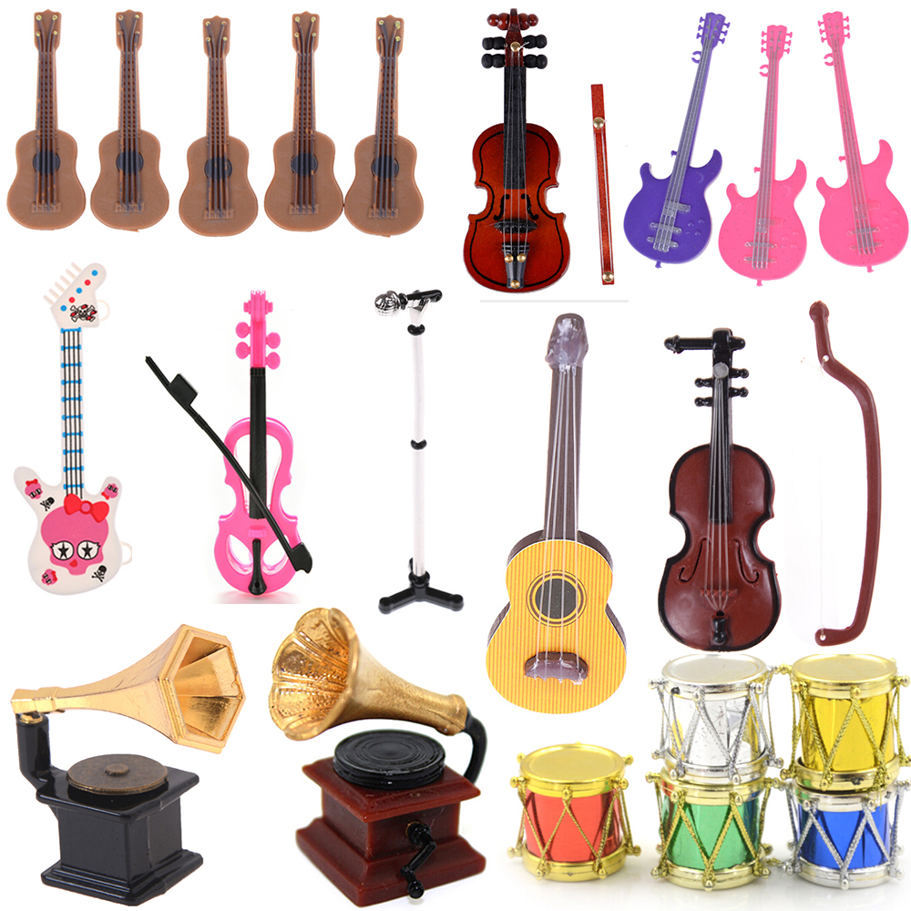 Microphone Phonograph Guitar Violin Trumpet Saxophone Drum Doll Musical Instrument For Dolls Music House Bar Doll Accessories