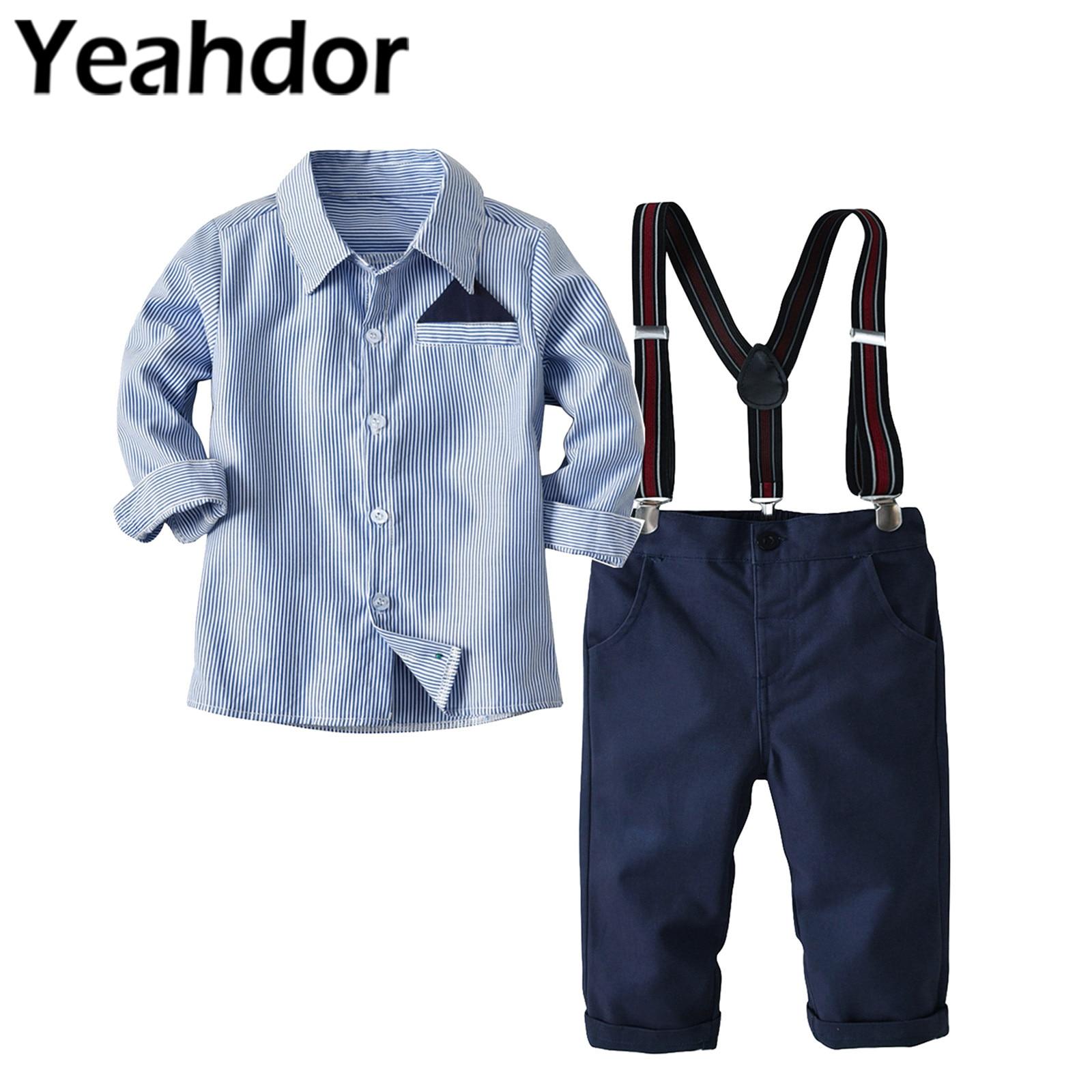 2Pcs Kids Clothes Set Flower Boys Wedding Suits Children's Gentleman Outfits Suits for Boy Long Sleeve Shirt Pants Party Costume