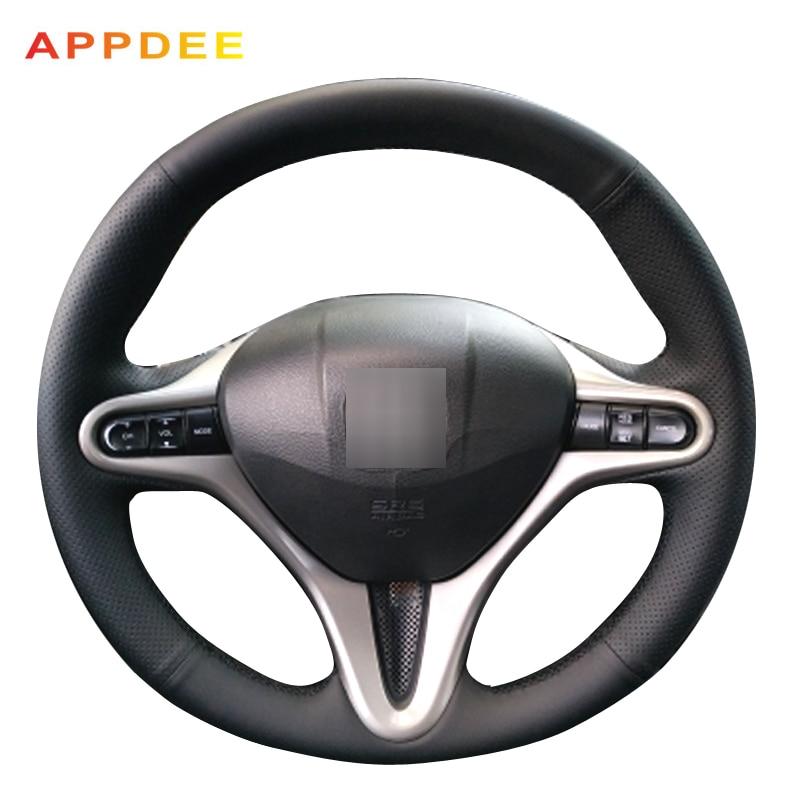 APPDEE черная искусственная кожа Чехол рулевого колеса автомобиля для Honda Civic 8 2006 2007 2008 2009 (3-спица)