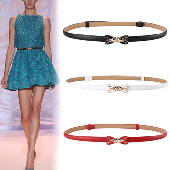 Double Buckle enamel Cicada Belt Women Thin Genuine Cow Leather Belts Female cowhide waistbands Lady Narrow patent leather strap
