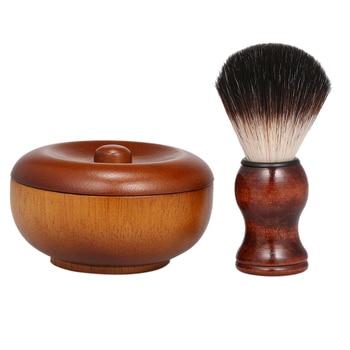 Men's Manual Beard Care Set Facial Care Wood Shaving Kit Beard Brush Home Bathroom Grooming Tool 4
