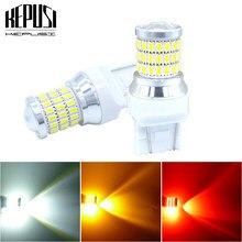2x de alta qualidade t20 7443 w21/5 w auto lâmpadas led carro reverso luzes sinal backup drl luzes âmbar vermelho branco 12 v 24 v