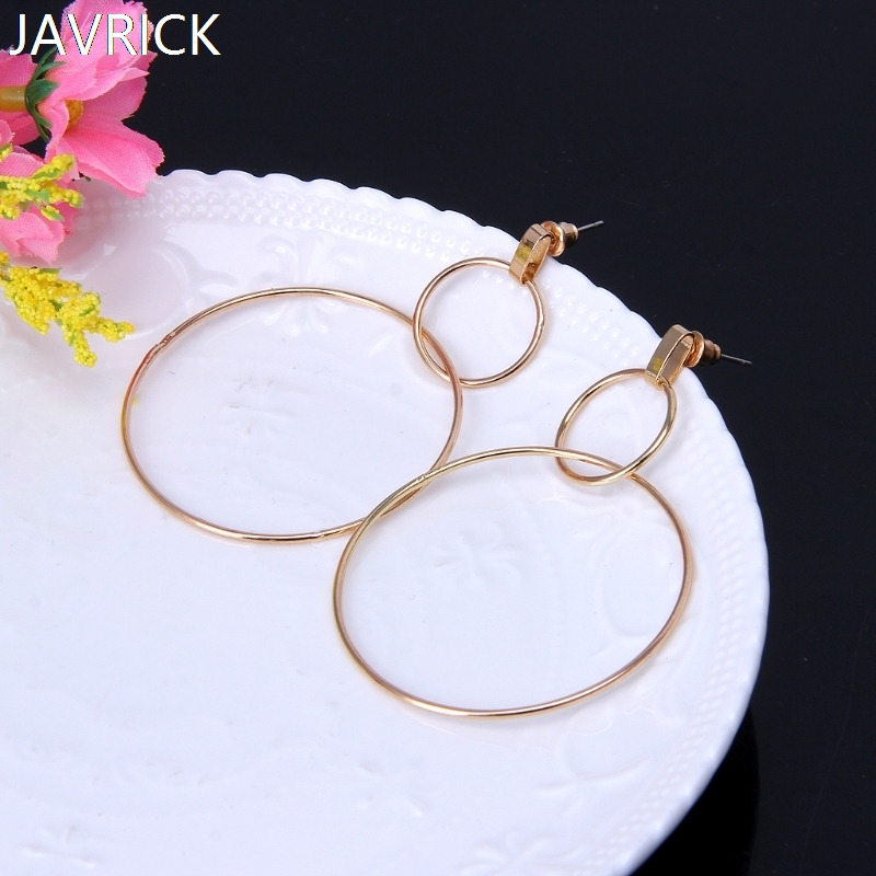 Statement Large Hoop Dangle Drop Earrings Women Double Round Circle Stud Jewelry