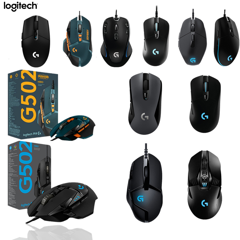 Logitech G102/G403/G502/MX518/G402/G302/G300s Gaming Mouse Programmable RGB Gamer Mouse Hero For LOL PUBG Fortnite Overwatch CS image
