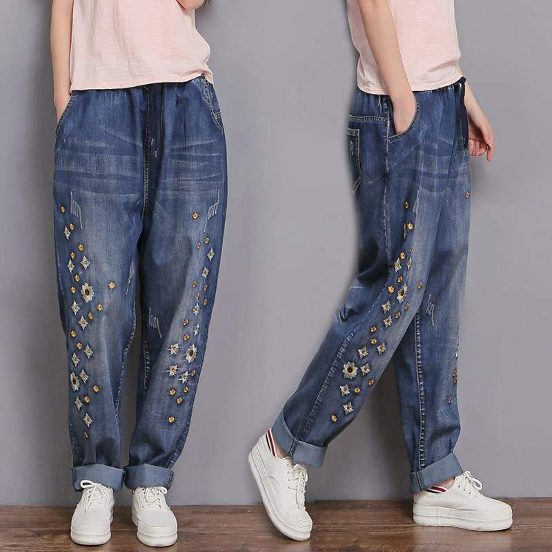 2XL-6XL Plus Size High Quality Embroidery Flowers Jeans Female Fashion New Slim Was Thin Washed Wild Vintage Denim Pants L833
