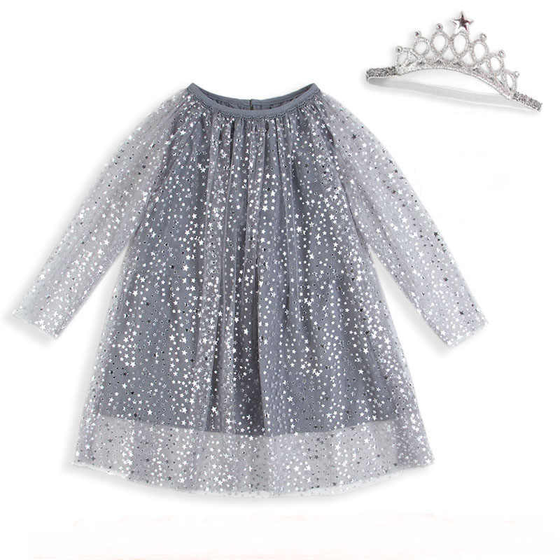 Baby Birthday Dress With Sleeves Princess Costume Girls Tunic Dress Christmas Kids Clothing Robe Fille Shiny Children Dresses