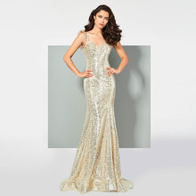 Tanpell sexy sequins prom dress reflective straps woman party gown floor length sweep tarin long mermaid