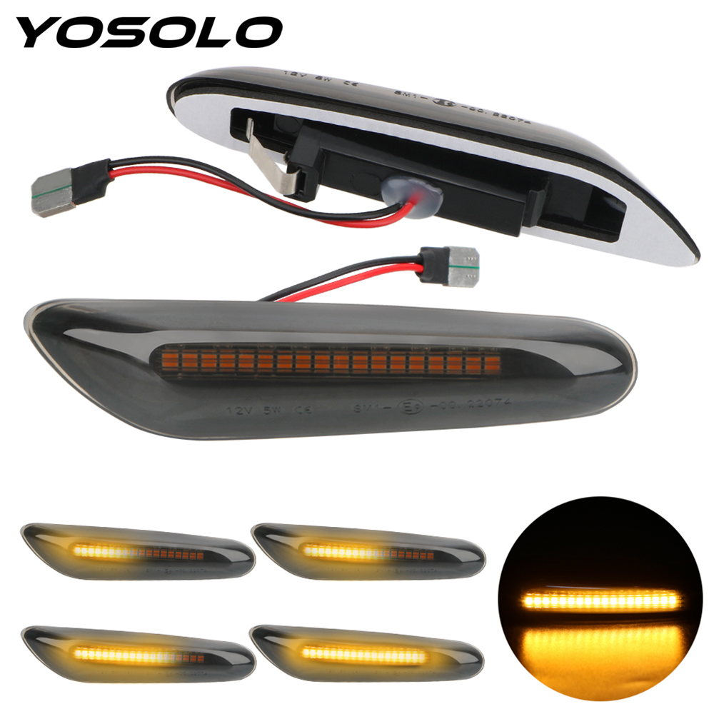 YOSOLO Flowing Water Car Indicator Turn Signal Lights Dynamic LED Side Marker Light For BMW E90 E91 E92 E93 E60 E87 E82 E61 image